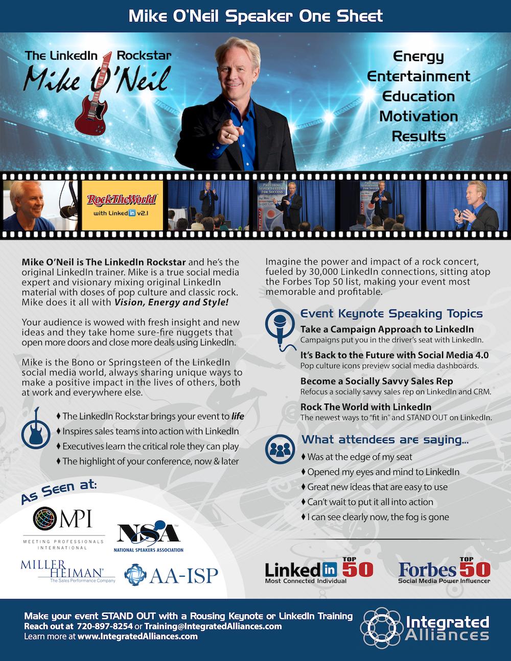 Mike O'Neil Speaker One Sheet 2017